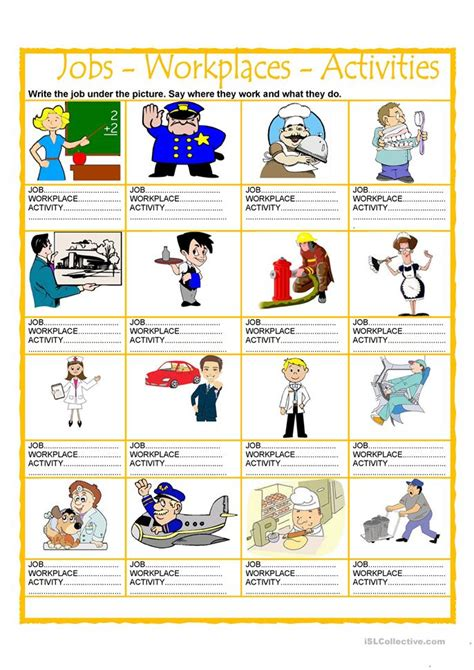 printable games for the workplace jobs workplaces activities worksheet free esl