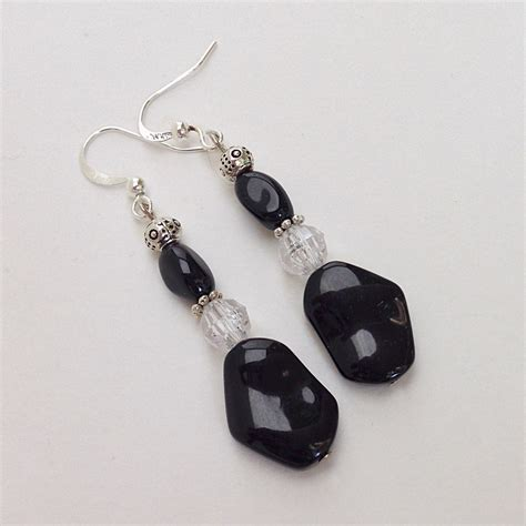 black bead earrings beaded earrings black beaded dangle earrings by everydaywomen