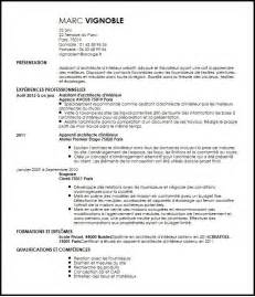 cv assistant d architecte d interieur exemple cv