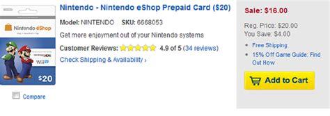 Eshop Gift Card Discount - nintendo eshop cards 20 percent off at best buy the escapist