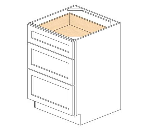 three drawer kitchen cabinet db24 3 white shaker drawer base cabinet rta