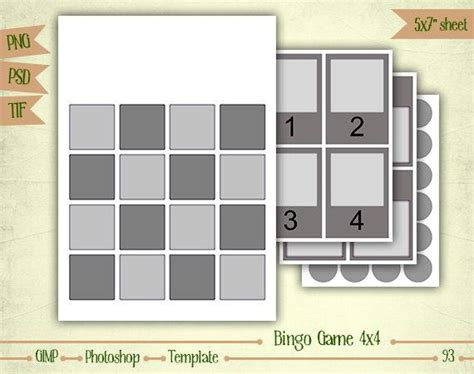 photoshop bingo card template bingo 4x4 digital collage sheet layered template