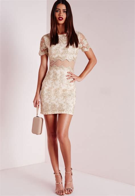 gold pattern mini dress premium embroidered lace mini dress gold missguided