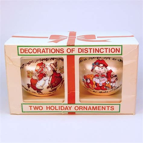 2 vtg rauch industries christmas ornaments sleeved satin