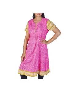 Alien Decorations Bandhej Design Girls Pink Cotton Kurti General Category