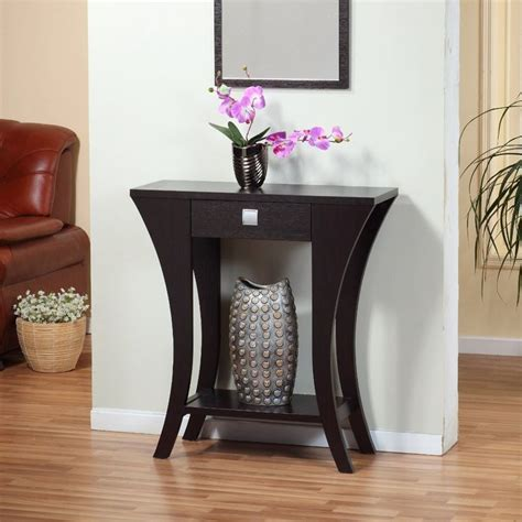 small modern entryway table foyer entry table console sofa drawer curved wood modern