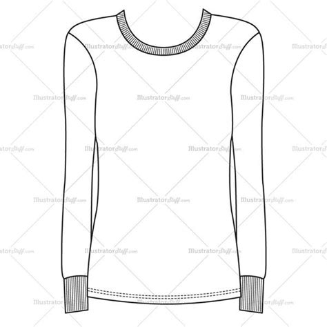 sweatshirt template illustrator s sleeve rib crewneck fashion flat template