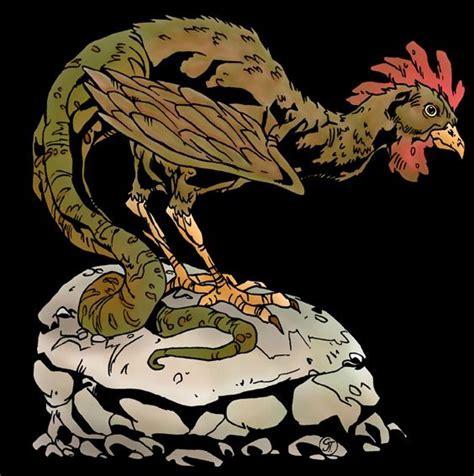 testa di gallo il basilisco simile ad una lucertola alata e con la testa