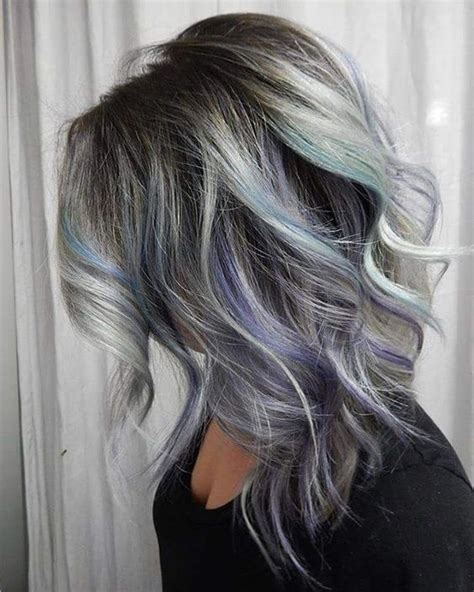 hi lites or hair color for greys 21 grey hair with black lowlights and purple and turquoise