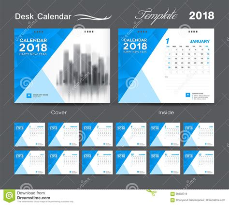 desk calendar 2018 template layout design blue cover