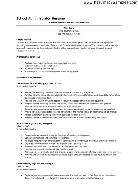 Resume Sles For Educational Administrators Administrator Resume Sales Administrator Lewesmr