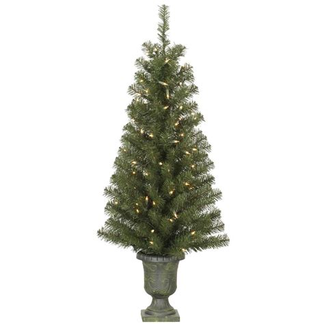 4 foot potted christmas tree in urn all lit lights a142641
