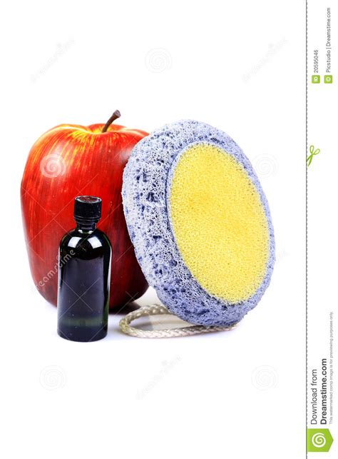 Fruit And Lotion fruit lotion with scrubber royalty free stock image