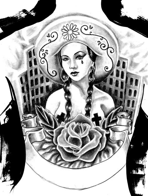 microcosm mexican gangster back piece tattoo design
