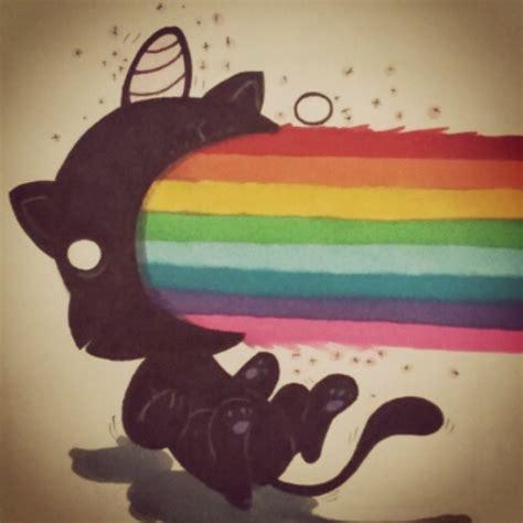 imagenes de gatos unicornios un gato unicornio vomitando arcoiris
