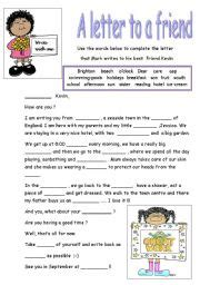 up letter to friend esl worksheets a letter to a friend