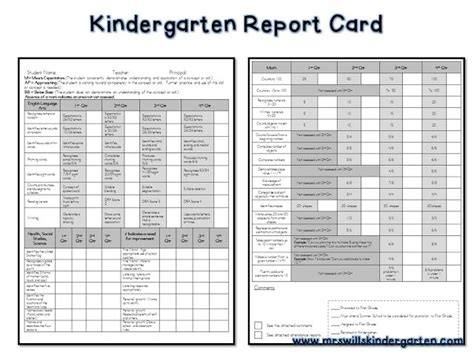 free report card template kindergarten report cards