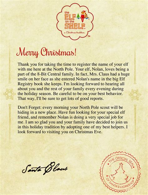 elf on the shelf warning letter from santa printable elf on a shelf letter from santa letter of recommendation