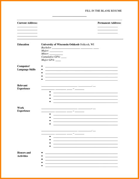 8 blank resume forms to print sephora resume