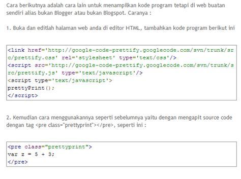 kode format html memformat kode program pada web dengan prettyprint