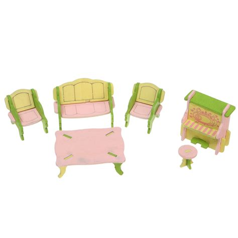 jigsaw puzzle couch doll house miniatures wooden diy three dimensional