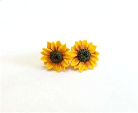 silver plated clip on sunflower earrings sunflower stud earrings summer flower flower by