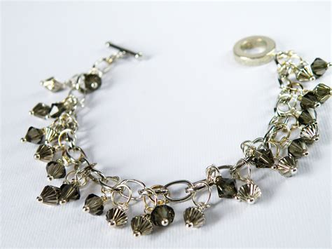 Wire Wrapped Bicone Smoky Quartz Swarovski Crystal Beaded Bracelet Fashion Accessories Charm
