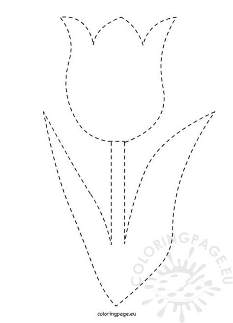 tulip template card coloring page