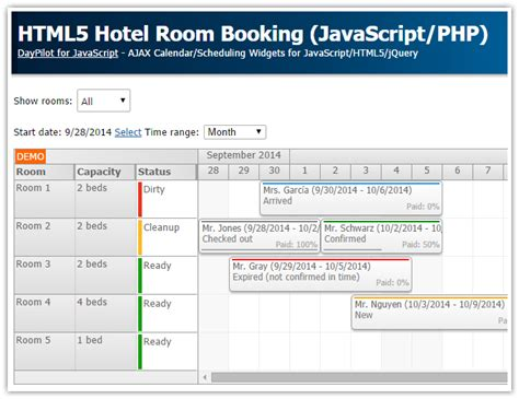 tutorial javascript php mysql tutorial html5 hotel room booking javascript php