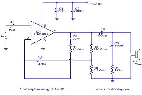 Ic Tda 2003 Ic St Audio Lifier tda2003 10w lifier a diy guide with circuit pin diagram