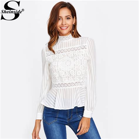 Branded Baju H Button Blouse sheinside lace panel see through peplum blouse white high neck sleeve button blouse