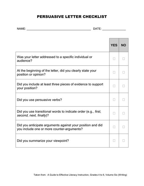 Letter Check persuasive letter checklist in word and pdf formats
