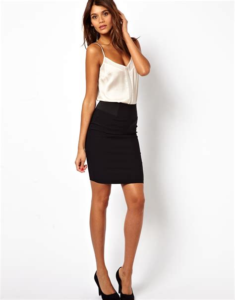 asos high waisted pencil skirt with elastic sides in black