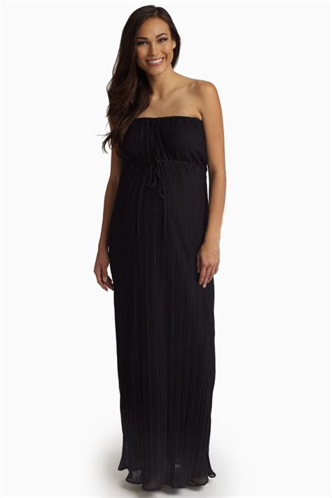Strapless Maxi Chiffon Dress black pleated chiffon strapless maternity maxi dress