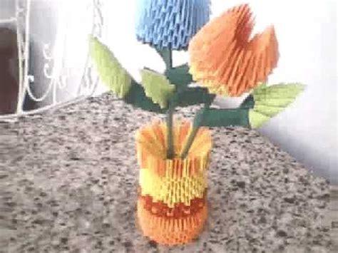 florero origami 3d paso a paso origami 3d florero con flores youtube