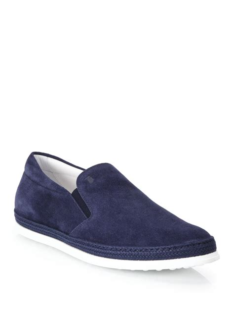 Adidas Slip On Suede Blue lyst tod s suede slip on espadrille sneakers in blue for