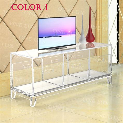 acrylic tv stand tableluite cabinet  removable traysperspex living room side wall corner