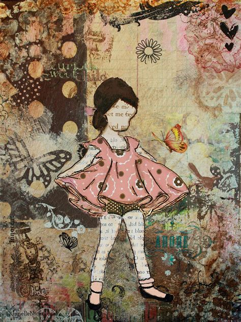 little girl art little one mixed media folk art of whimsical little girl