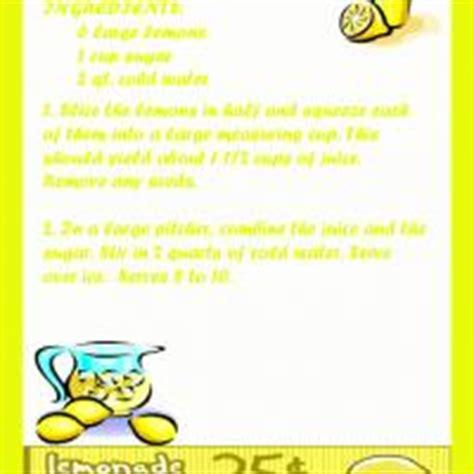 printable lemonade recipes cool lemonade