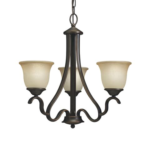 Black 3 Light Chandelier Shop Portfolio Danrich Marina 21 25 In 3 Light Black Bronze Craftsman Etched Glass Shaded