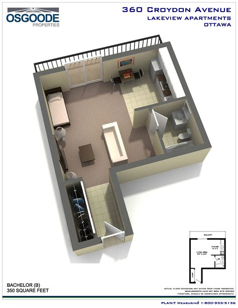 floor plan for bachelor flat rent at lakeview apartments in ottawa ontario