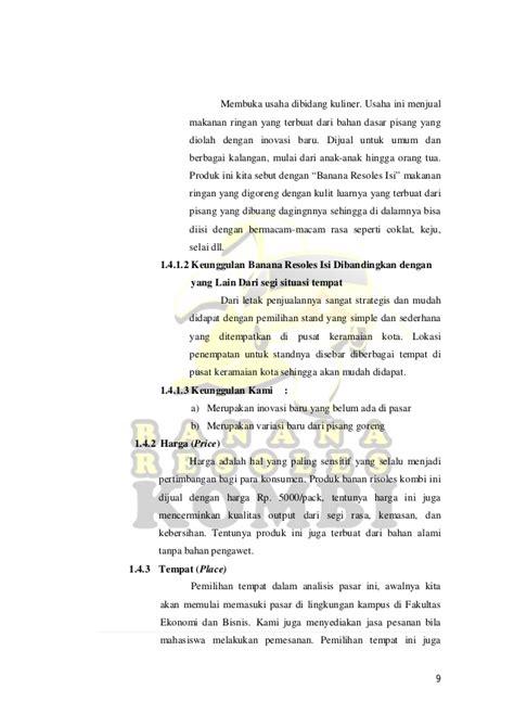 contoh usaha dibidang manufaktur banana risoles combi contoh bisnis plan