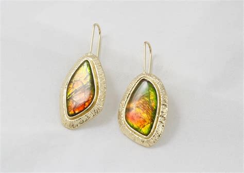 Custom Handmade Jewelry - ammolite earrings steve kriechbaum custom jewelry