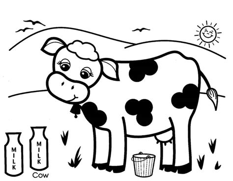 milking cow coloring page produce coloring pages cows healthy milk kids play color