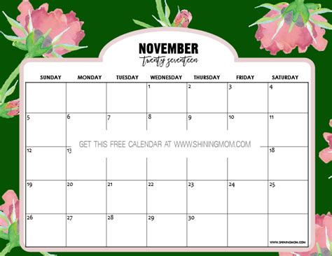 calendar design november free printable november 2017 calendar 12 beautiful designs