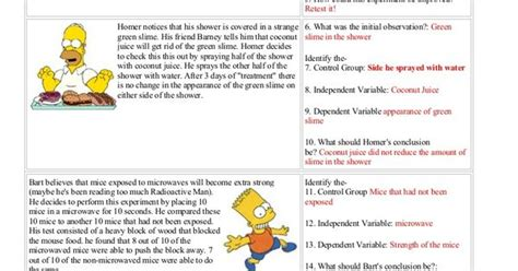 Simpsons Variables Worksheet by Bart Controls And Variables With Answers