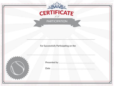 baseball certificate template printable baseball certificate of participation award