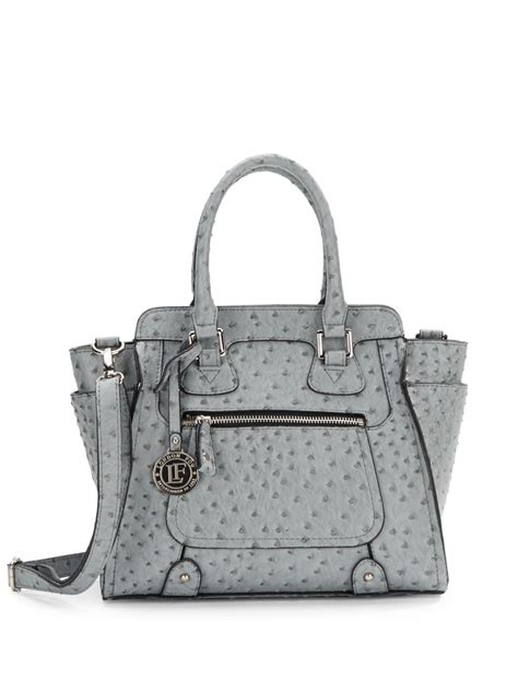 Small Faux Leather Satchel lyst fog small ostrich embossed faux leather