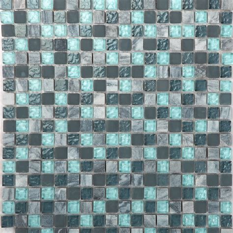 stone and glass mosaic sheets blue square tiles natural
