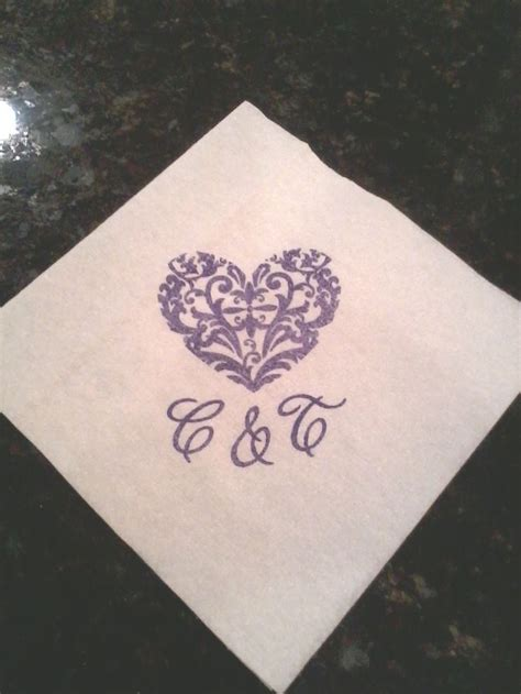 Wedding Napkin Fonts personalized napkins with damask in royal blue ink